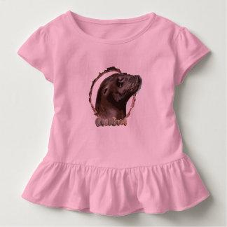 Mädchen kräuselten Siegelspitze Kleinkind T-shirt