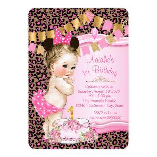 Mädchen-Leopard-1. Geburtstag 12,7 X 17,8 Cm Einladungskarte