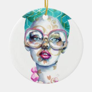 Mädchen mit Glas-Funky Wasserfarbe-Kunst Keramik Ornament