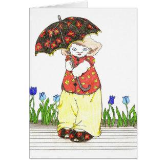 Mädchen mit schwarzem Regenschirm Karte