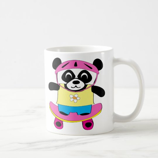 m dchen panda auf skateboard tasse zazzle. Black Bedroom Furniture Sets. Home Design Ideas
