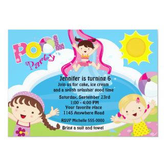 Mädchen-Pool-Party-Geburtstag 12,7 X 17,8 Cm Einladungskarte