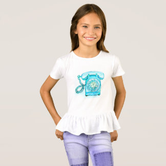 Mädchen-Retro blaues T-Shirt
