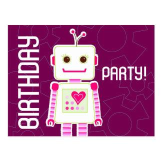Mädchen-Roboter-Geburtstags-Party, Postkarten