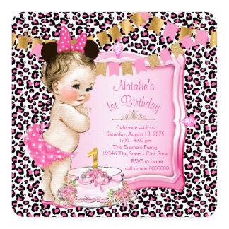 Mädchen-rosa Leopard-1. Geburtstag Quadratische 13,3 Cm Einladungskarte