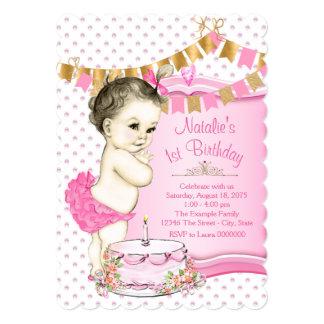 Mädchen-Rosa und Gold1. Geburtstag 12,7 X 17,8 Cm Einladungskarte
