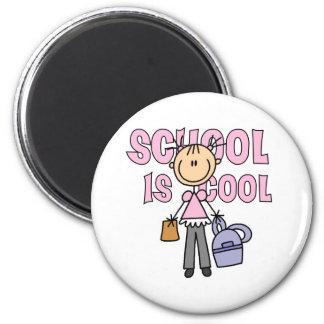 Mädchen-Schule ist cool Runder Magnet 5,7 Cm