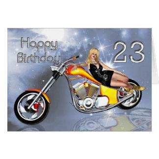 Mädchen-und Chopper 23 Geburtstagskarte Grußkarte
