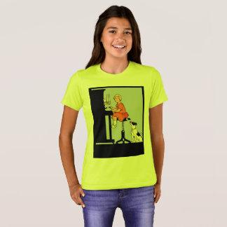 Mädchen, welches das Klavier, Hund, Retro Art T-Shirt