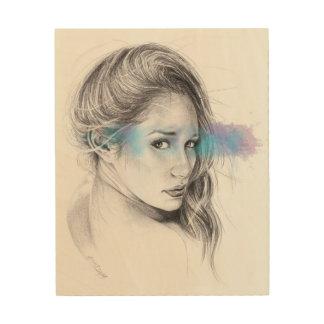Mädchenporträtbleistiftkunst Holz-Leinwand Holzdrucke