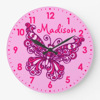 Mädchenraum-Namen-Wanduhr des Schmetterlinges rosa Wanduhr