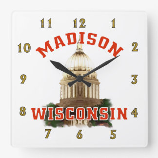 Madison, Wisconsin Quadratische Wanduhr