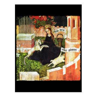 Madonna, das weißes Einhorn hält Postkarte
