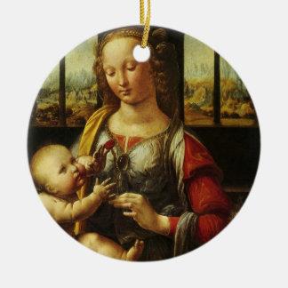 Madonna der Gartennelke durch Leonardo da Vinci Rundes Keramik Ornament