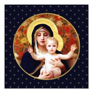 Madonna durch W. Bouguereau. Religiöse Quadratische 13,3 Cm Einladungskarte