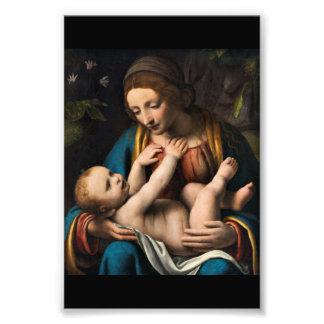 Madonna-MED Kristusbarnet Fotodruck