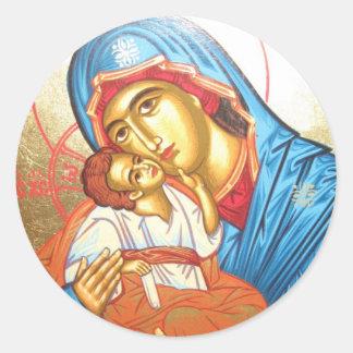 Madonna mit byzantinischem religiösem Ikonengold Runder Aufkleber