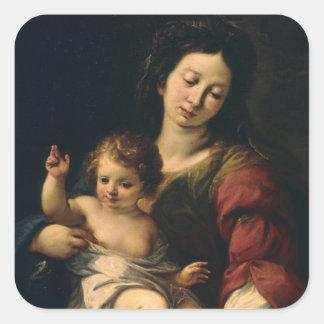Madonna und Kind Quadratischer Aufkleber