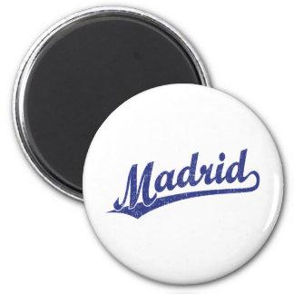 Madrid-Skriptlogo im Blau im Blau beunruhigt Magnete