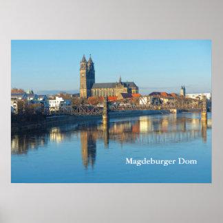 Magdeburg-Kathedrale mit Fluss Elbe 01.2.T Poster