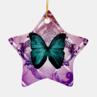 Magentaroter lila Wirbels-böhmischer aquamariner Keramik Ornament