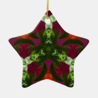 Magentarotes Pfirsich-Grün-Kaleidoskop-Muster Keramik Ornament