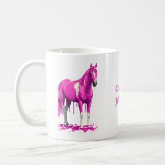 Magentarotes rosa Bratenfett-Farben-Pferd Kaffeetasse