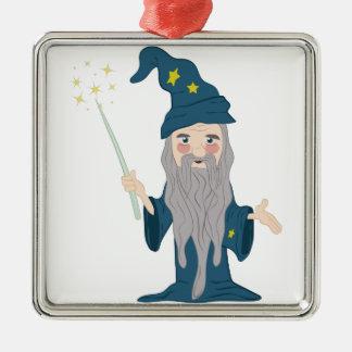 Magier Quadratisches Silberfarbenes Ornament