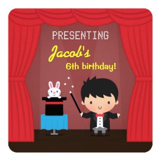Magier scherzt magische Geburtstags-Party Quadratische 13,3 Cm Einladungskarte