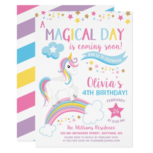 Magical Rainbow Unicorn Birthday Invitations Einladung