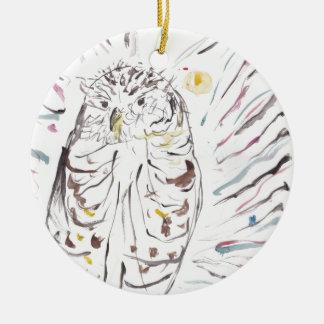 Magische Eulen-bunte Wasserfarbe-Malerei Rundes Keramik Ornament