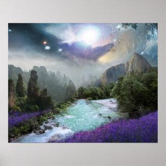 Magische Natur-Landschaft mit hetzendem Wasser Poster