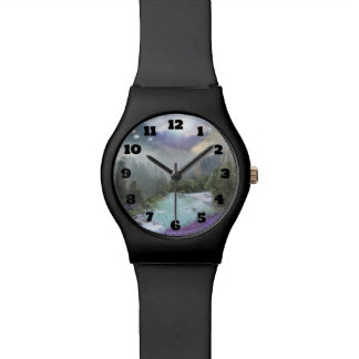 Magische natürliche Landschaft mit hetzendem Armbanduhr