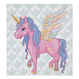 Magischer niedlicher Unicorn mit Regenbogen wings Poster