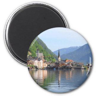 Magnet, der Hallstatt Stadt und See, Österreich Runder Magnet 5,7 Cm