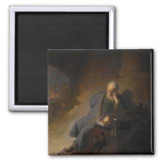 Magnet Jeremias Jerusalem Rembrandt Quadratischer Magnet