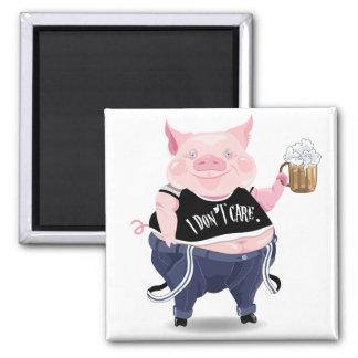 Magnet mit lustigem Schweinbild Quadratischer Magnet