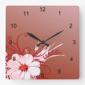 Magnolien-Blume Quadratische Wanduhr