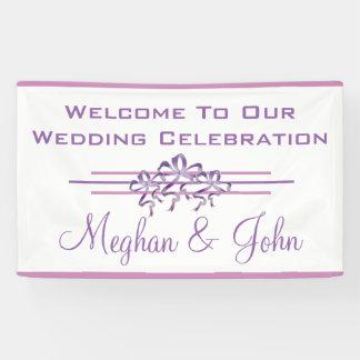 Magnolien-Lavendel - Hochzeits-Fahne - 3' x 5' Banner