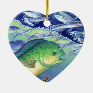 Mahi Mahi (Delphin-Fisch) fliegenden Fisch jagend Keramik Herz-Ornament