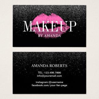 Make-upkünstler-Rosa-LippenTrendy schwarzer Visitenkarten