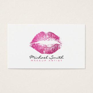 Make-upkünstler-stilvolle rosa Glitter-Lippen #2 Visitenkarte