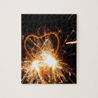MakroFoto eines brennenden Sparkler in der Form Puzzle