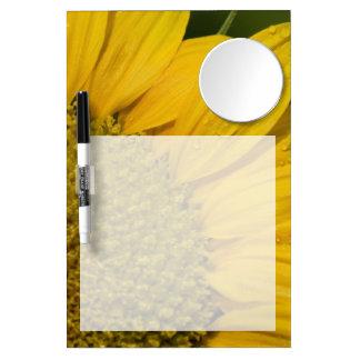 Makrosonnenblume mit Regentropfen Trockenlöschtafel Mit Spiegel