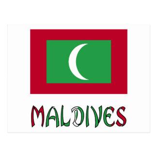 Maledivische Flagge und Malediven Postkarte