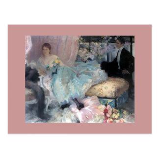 Malerei Dame Man Courtship Postkarte