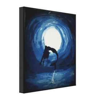 Malerei der Meerjungfrau herausspringend vom Leinwanddrucke