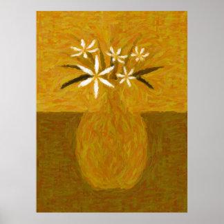 Malerei der weißen Blumen - VF-0001F Poster