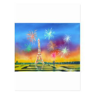 Malerei des Eiffelturms in Paris Postkarte