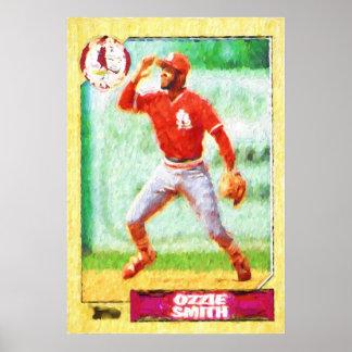 Malerei einer Baseballkarte Poster